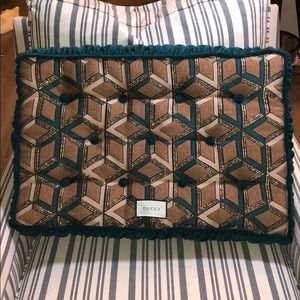 Gucci Velvet Cushion with Embroidery